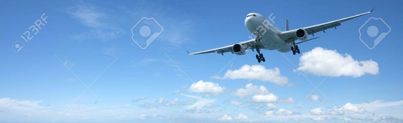 Jet plane in flight. Panoramic composition in high resolution. Stock Photo - 11174232