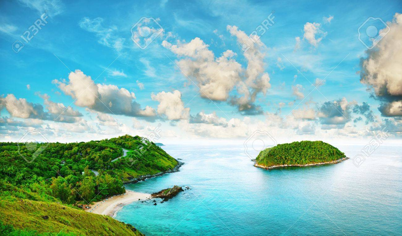 tropical sea scenery. panoramic composition in very high resolution