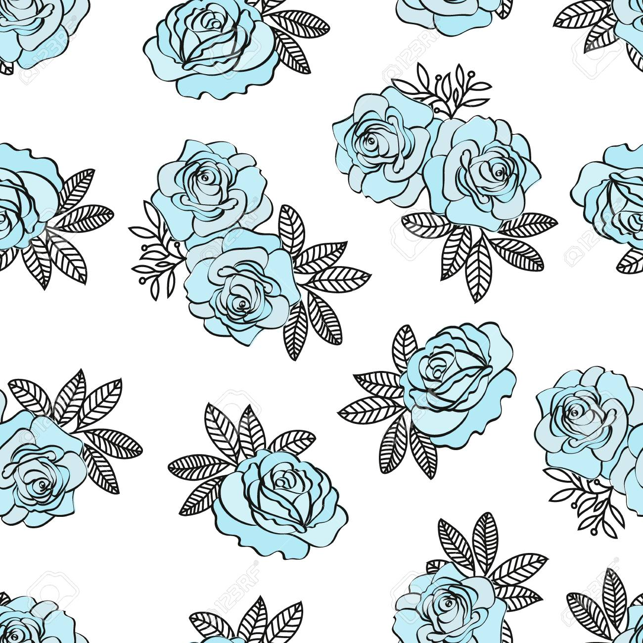 BLUE ROSE PATTERN Wedding Flower Seamless Pattern Vector Illustration for Print, Fabric and Digital Paper. - 117953959