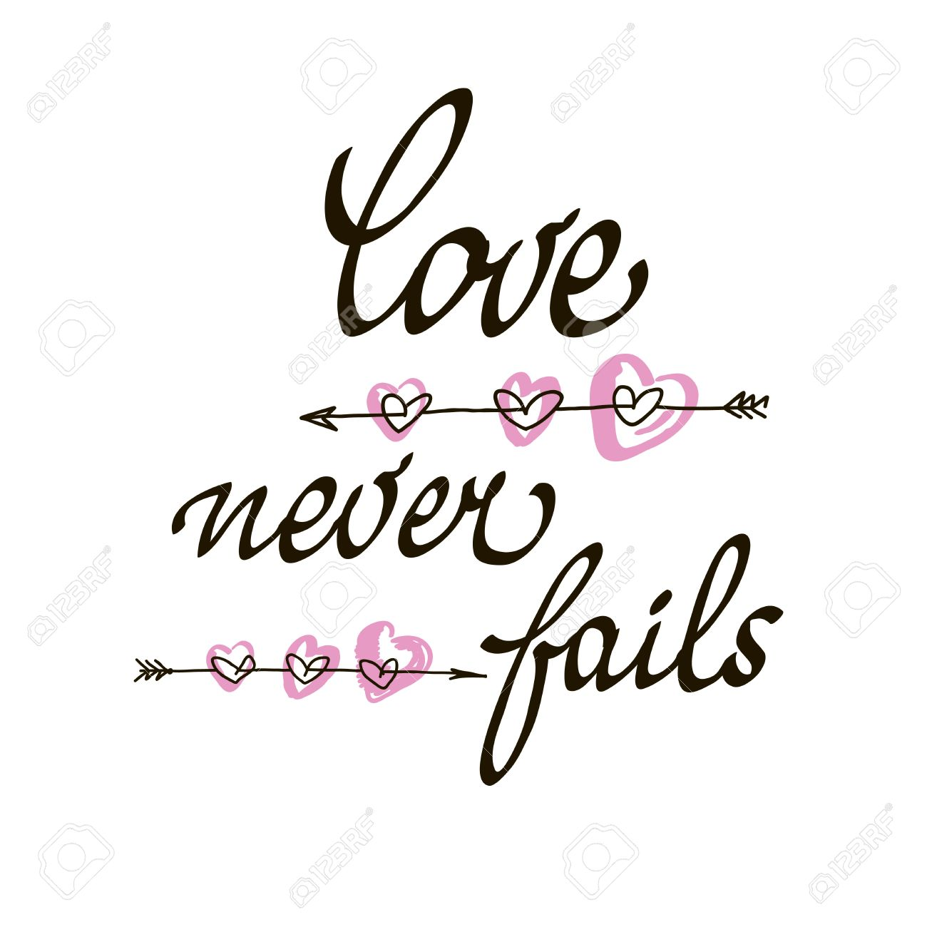 Love Never Fails Lettering Handmade Vector Calligraphy Simple Stylish Text Design Template On White Background
