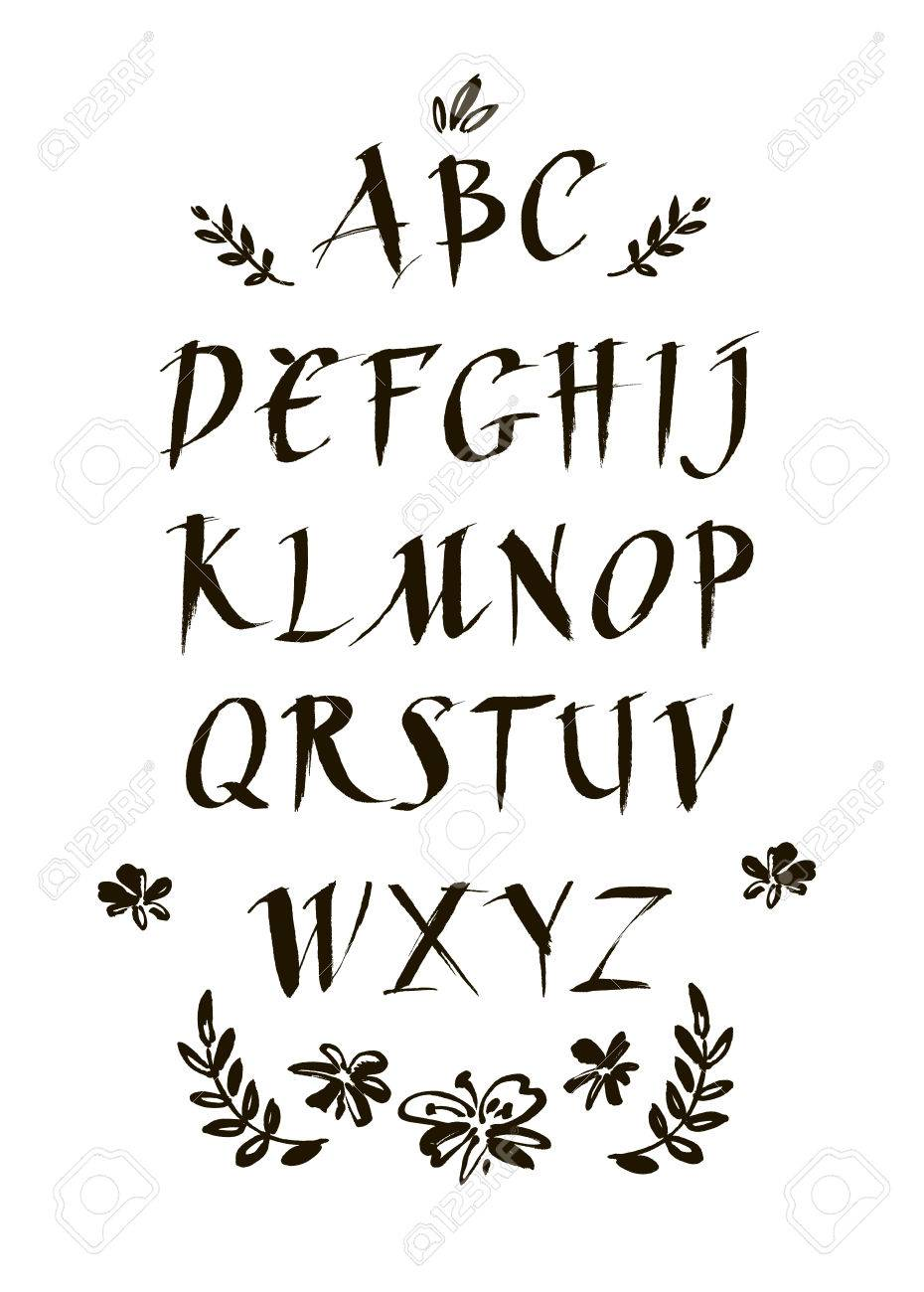 ink calligraphic font  Modern brush lettering  alphabet  Abstract