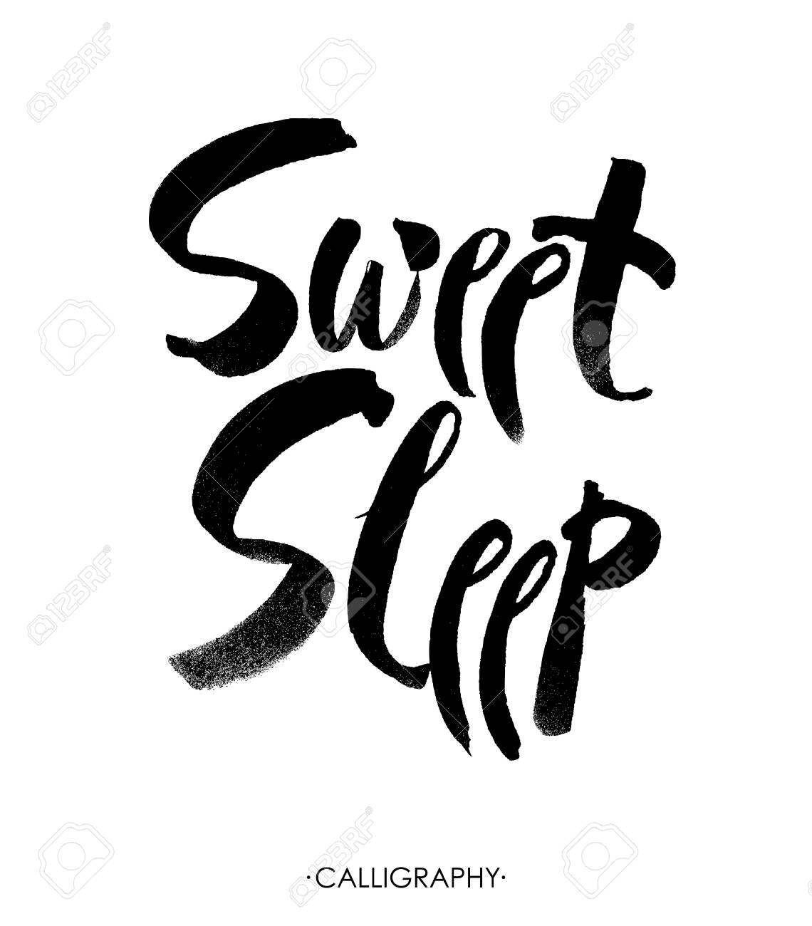 Süße Schlafende Karte Hand Gezeichnete Beschriftung Vektor Skizze