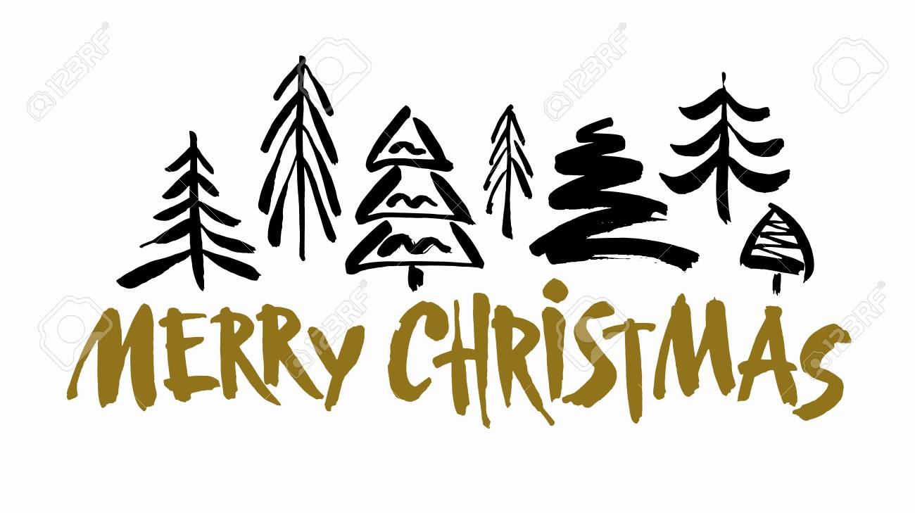 Merry Christmas Images Black And White.Merry Christmas Text Black And Gold Brush Calligraphy On White