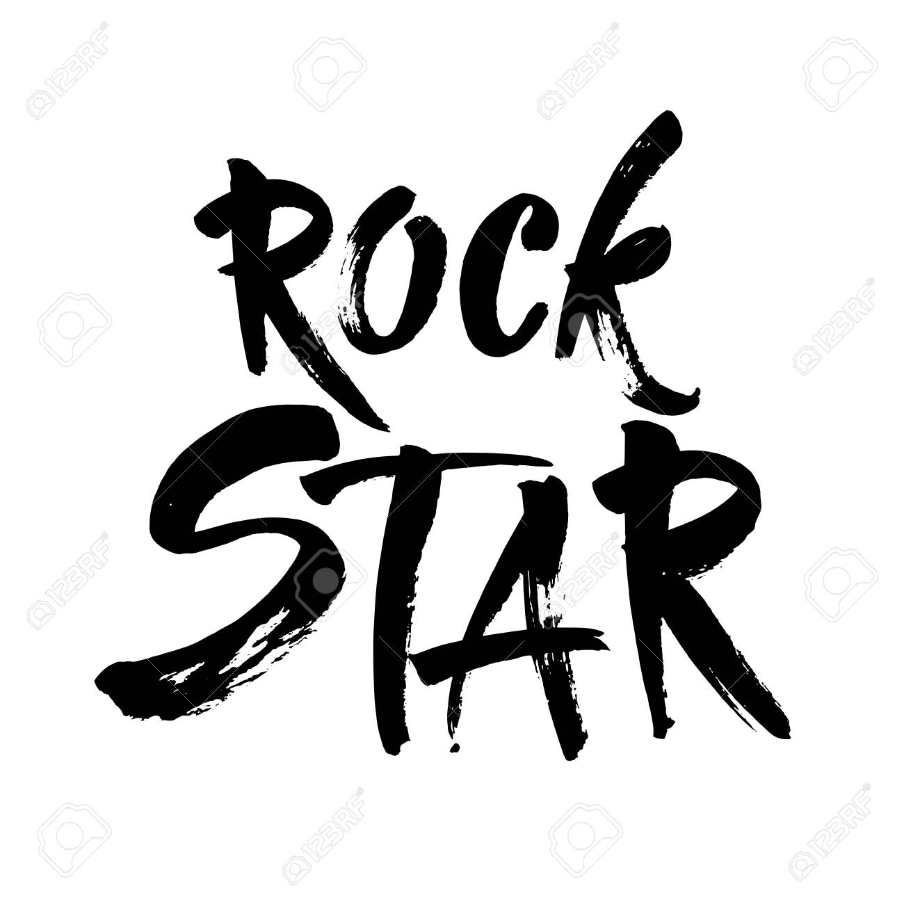 Rock star postcard ink illustration modern brush calligraphy isolated on white background