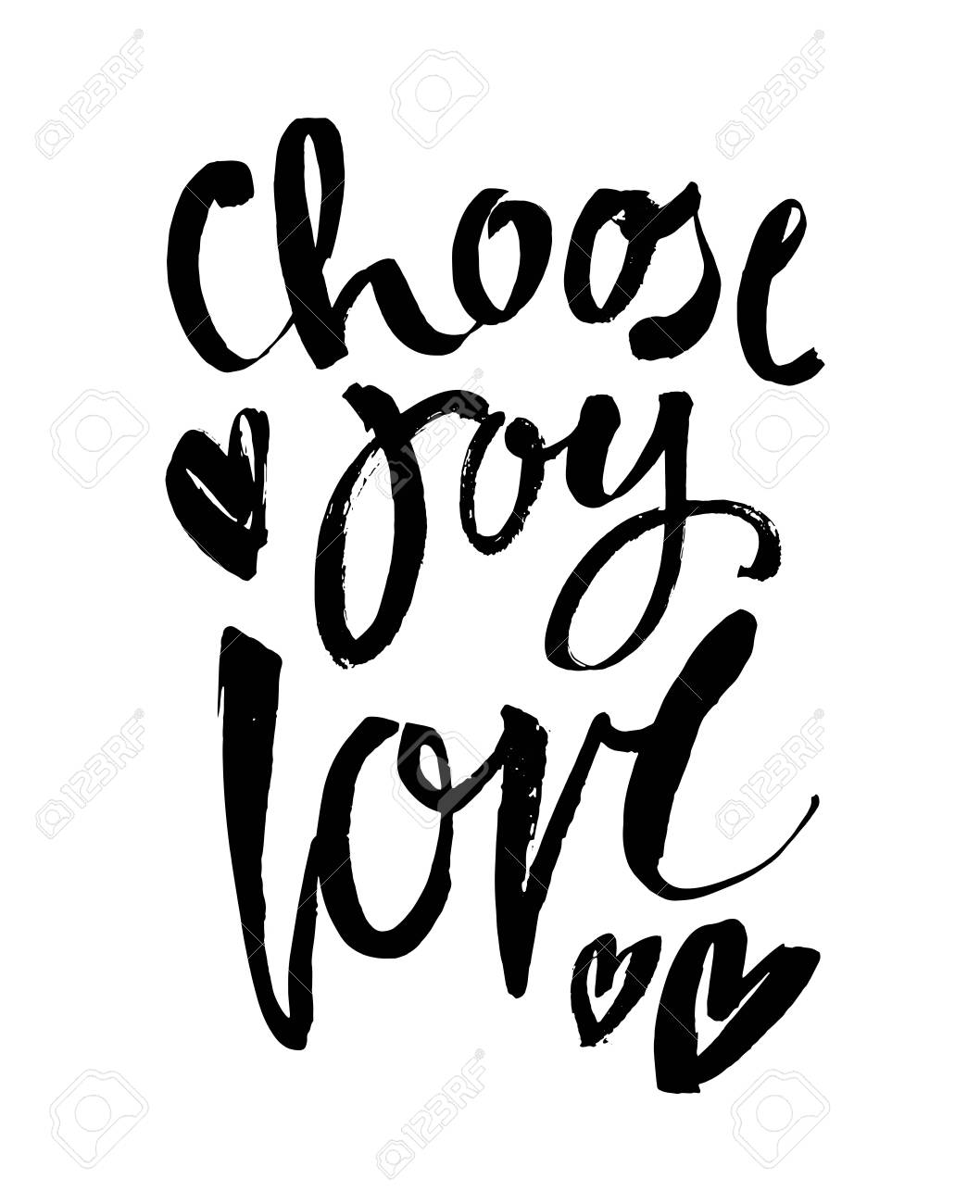 choose joy hand brush lettering inscription positive quote, motivational and inspirational poster, modern ink calligraphy vector illustration - 126977010