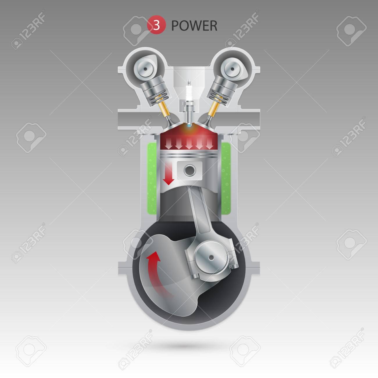 Power Stroke Engine >> Power Stroke Engine Vector Illustration