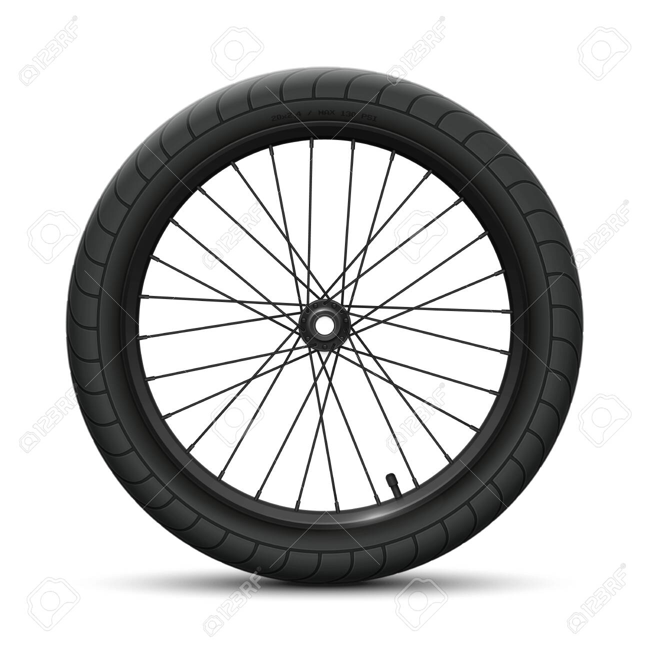 Black front wheel bicycle BMX. Sports tire with universal road tread and marking, rim, spokes, valve and hub. Vector illustration of bike parts - 153341628