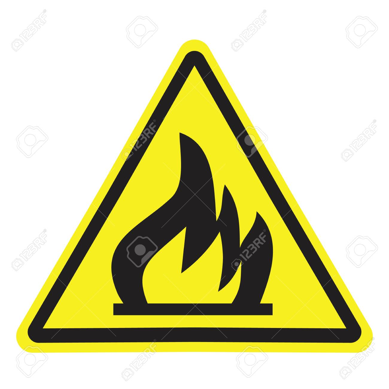 Fire warning sign in yellow triangle. Flammable, inflammable substances icon. - 121201455