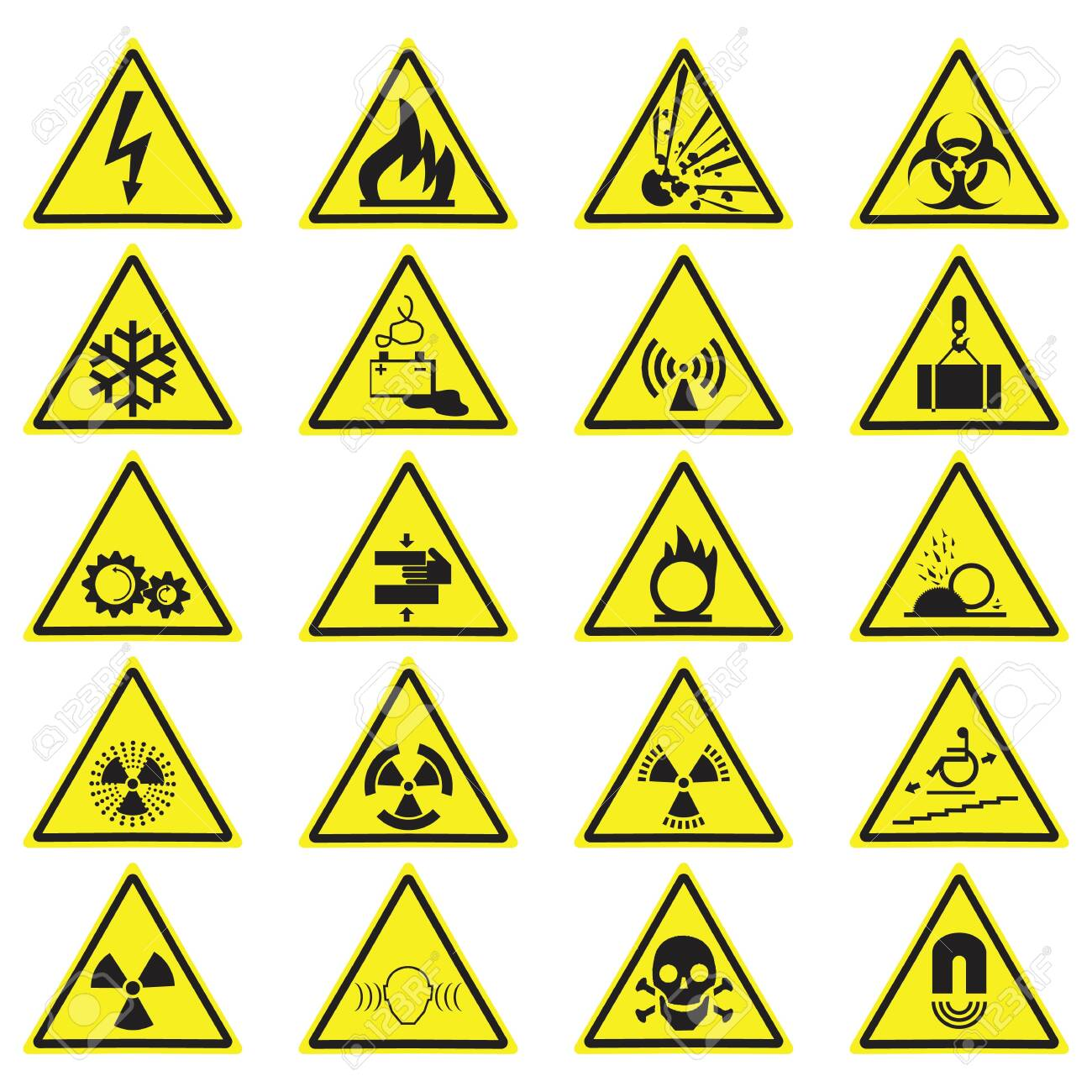 Warning Hazard Yellow Triangle Signs Set. Vector symbols isolated on white. - 121201457