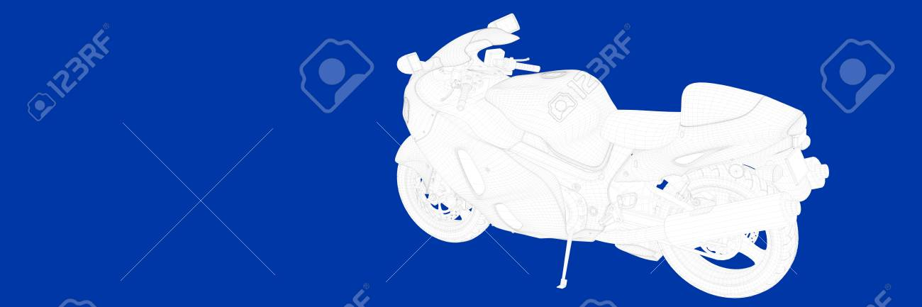 3d Rendering Of A Motor On A Blue Background Blueprint Stock Photo ...