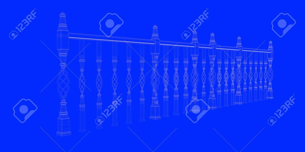 3D-Rendering Eines Eisenbahn-Blueprint Auf Einem Blauen Hintergrund ...