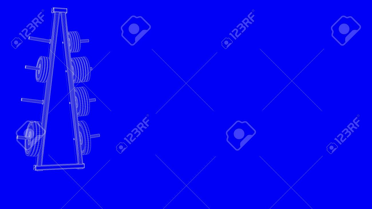 3d rendering of a blueprint gym equipments in white lines on stock 3d rendering of a blueprint gym equipments in white lines on a blue background stock photo malvernweather Gallery