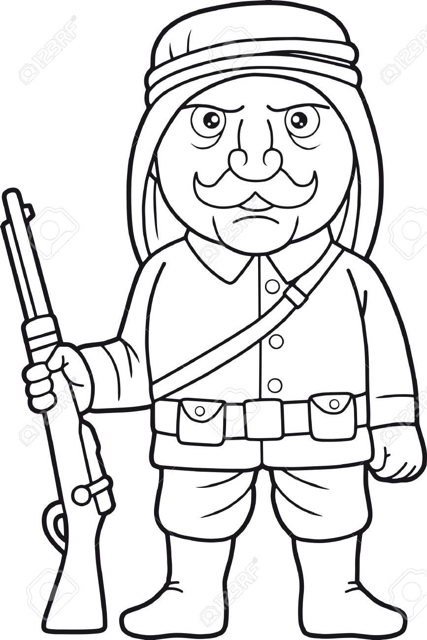 Un Soldat Arabe De Dessin Animé Monte La Garde Avec Un Fusil à La Main