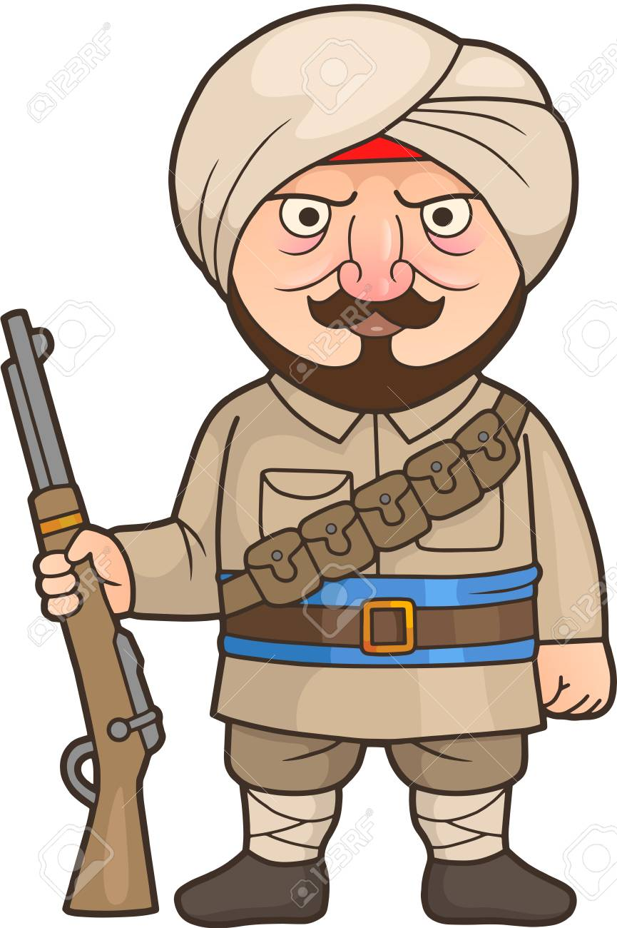 Cartoon Indian soldier stands guard with a rifle in his hand