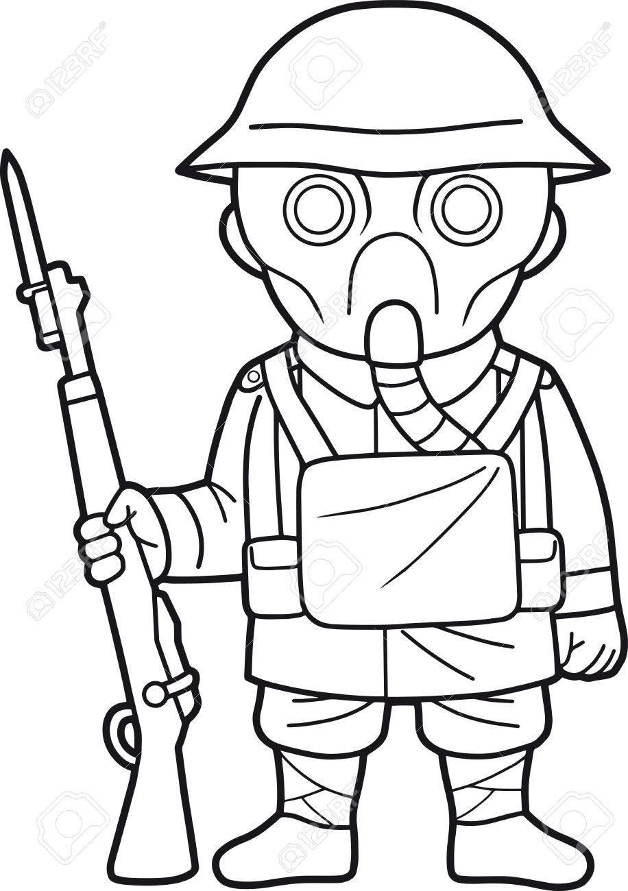 De Dibujos Animados Soldado Británico Durante La Primera Guerra ...