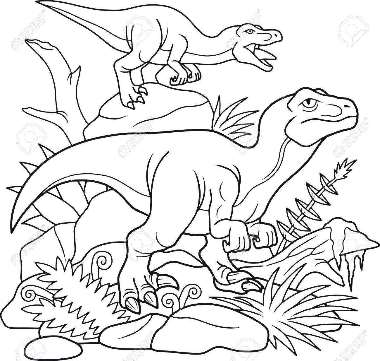 Vettoriale Il Gruppo Dei Velociraptor E Andato A Caccia Image