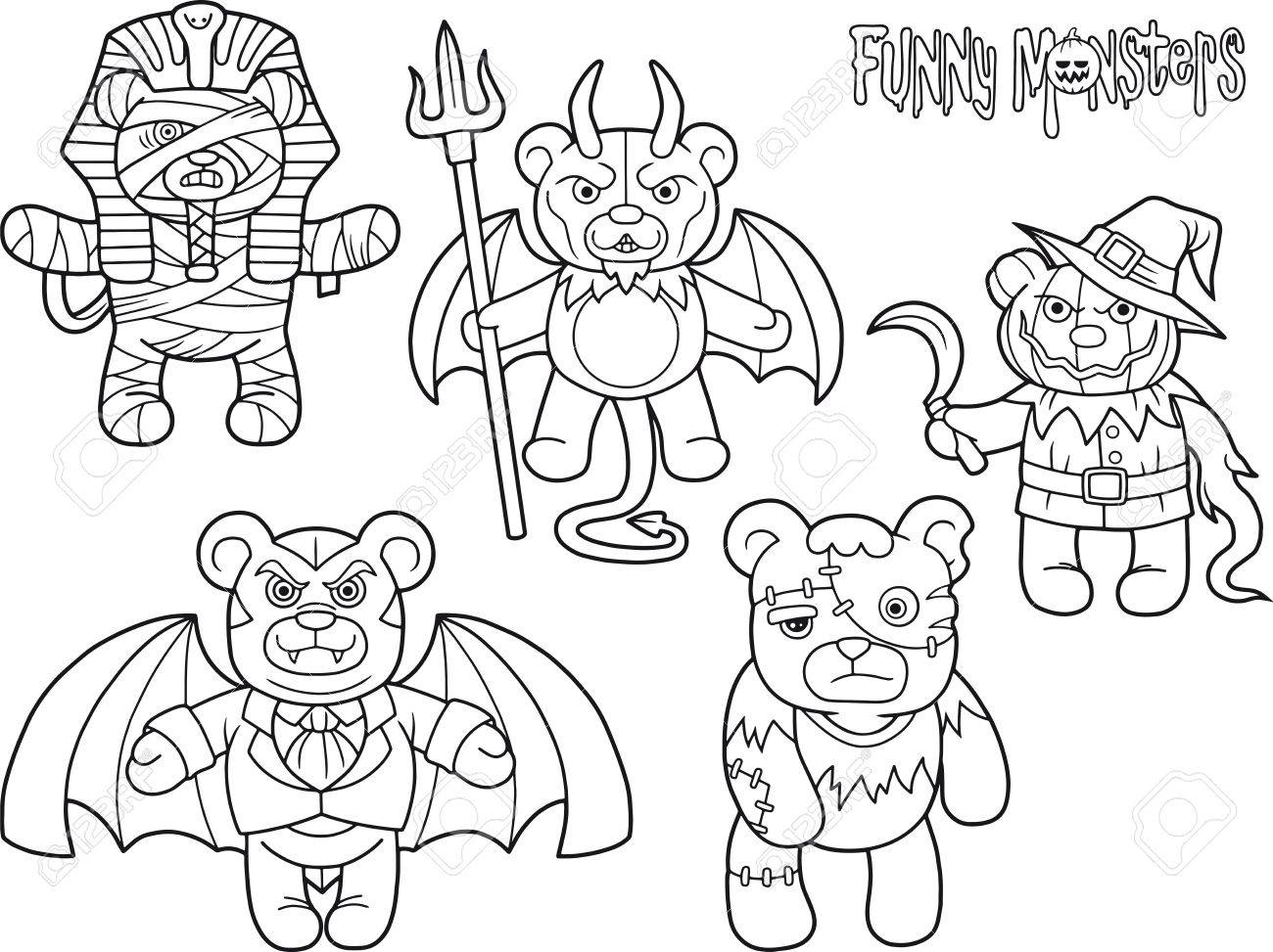 Cartoon Teddy Bears Monsters Set Of Drawings Royalty Free Cliparts Vectors And Stock Illustration Image 74952119