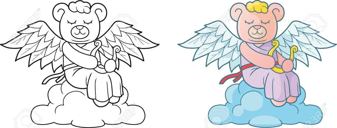 Netter Engel Teddybär Sitzt Auf Der Wolke Lizenzfrei Nutzbare