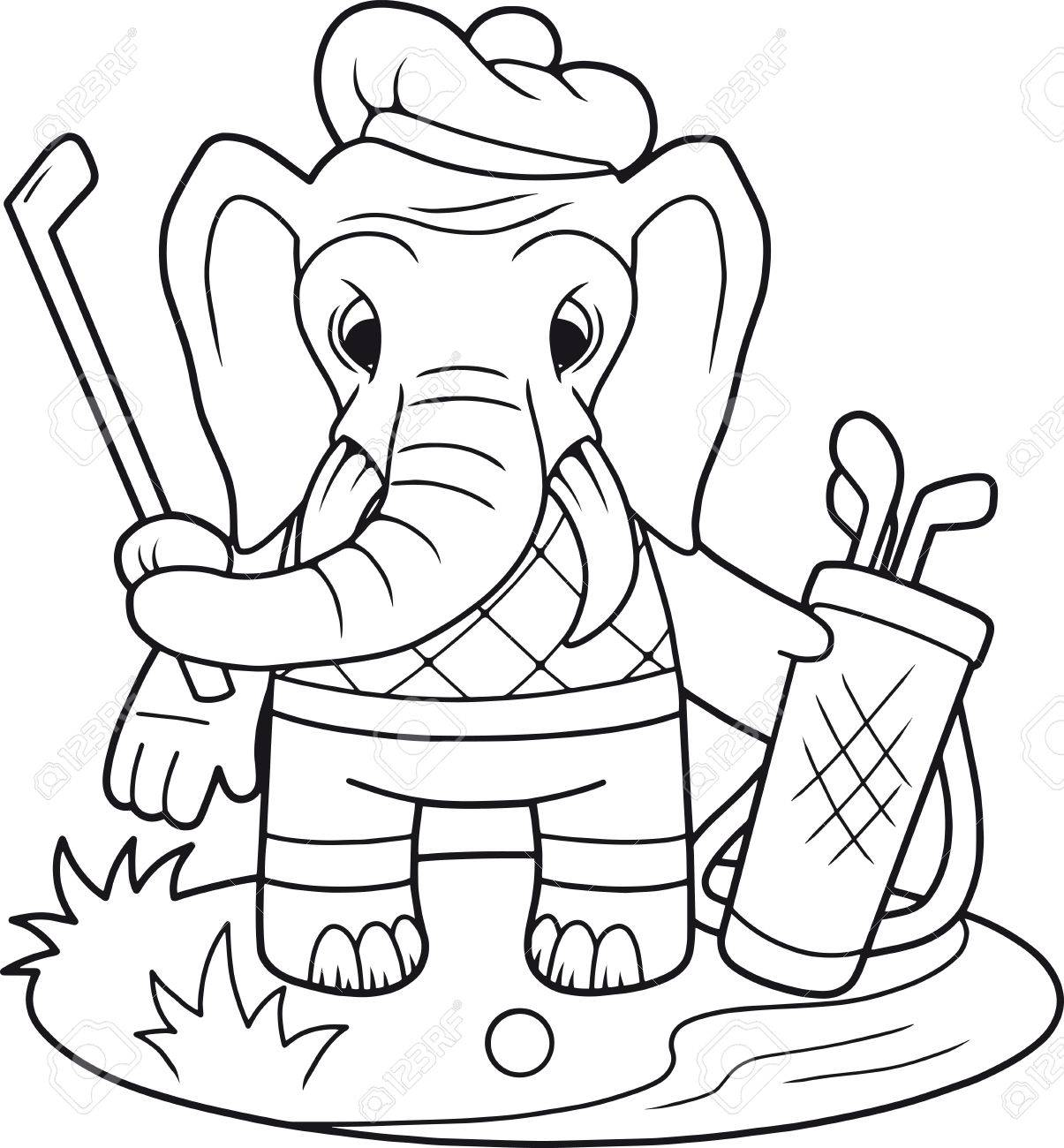 Cartoon Funny Elephant Playing Golf Royalty Free Cliparts Vectors