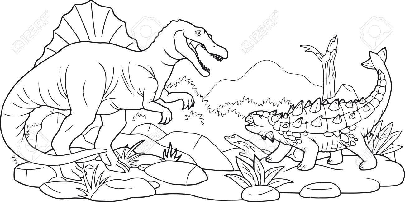 Cartoon Dino Battle Coloring Book Stock Vector