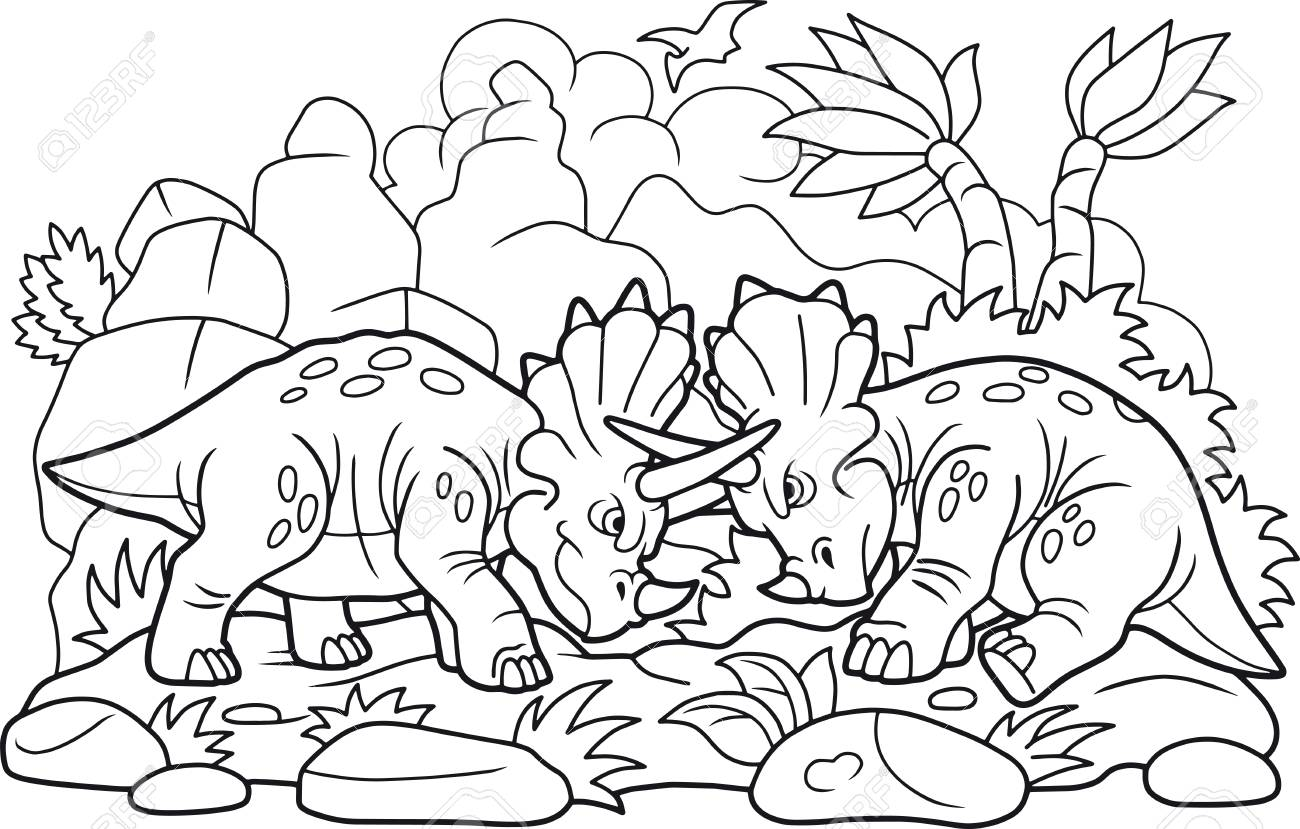 Coloriage Dinosaure Qui Se Battent.Les Dinosaures Droles De Dessin Anime Se Battent Clip Art Libres De