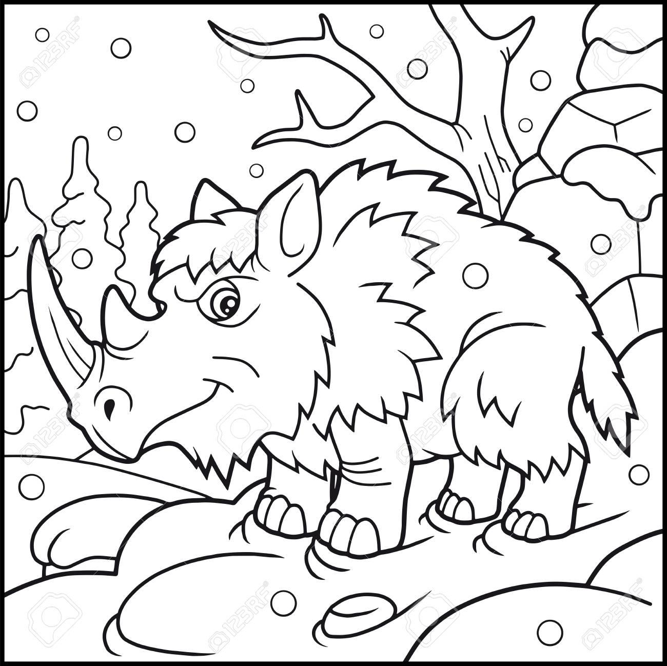 Coloriage En Ligne Rhinoceros.Livre De Coloriage De Rhinoceros Laineux De Dessin Anime