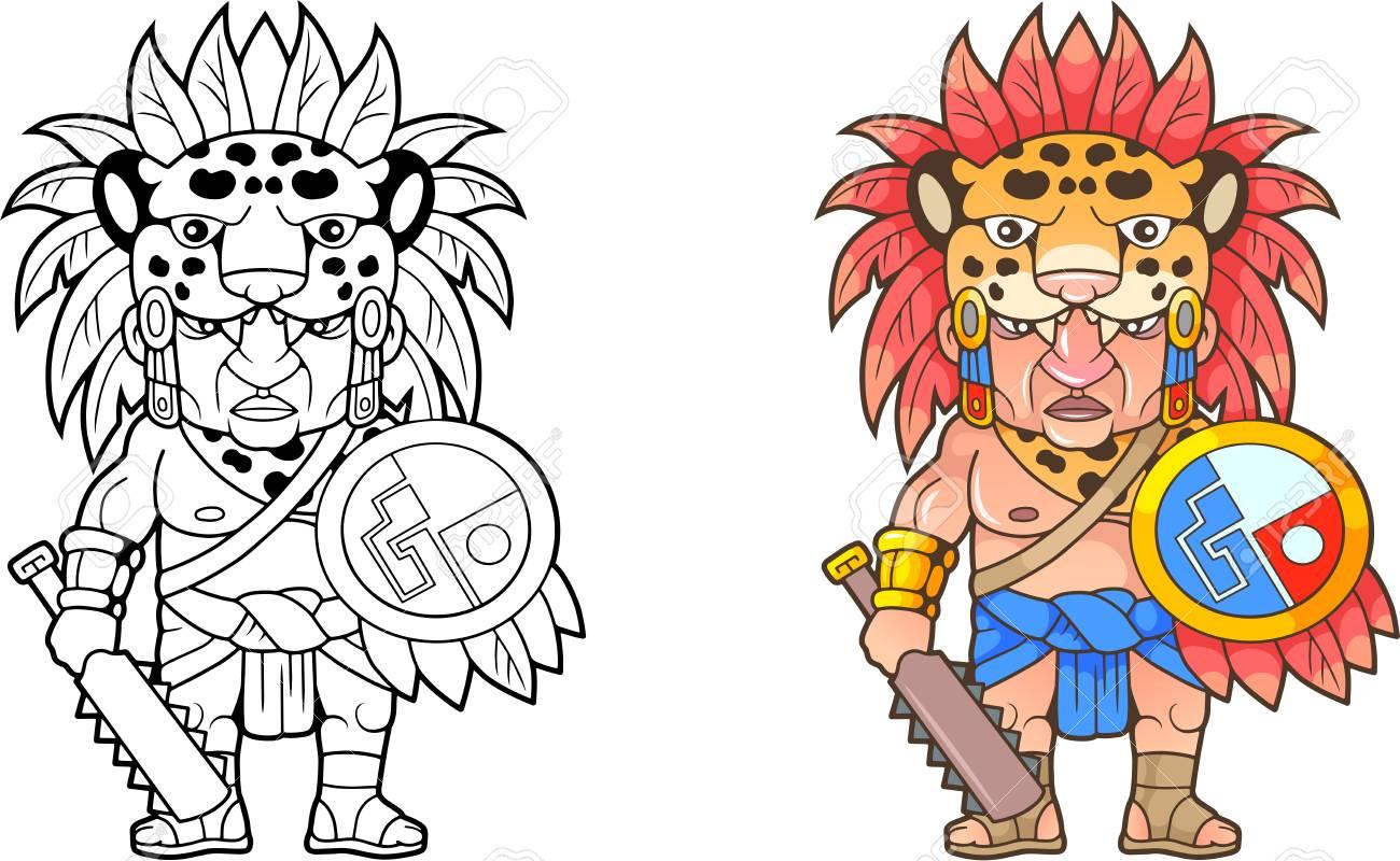 cartoon funny Aztec warrior, design coloring book