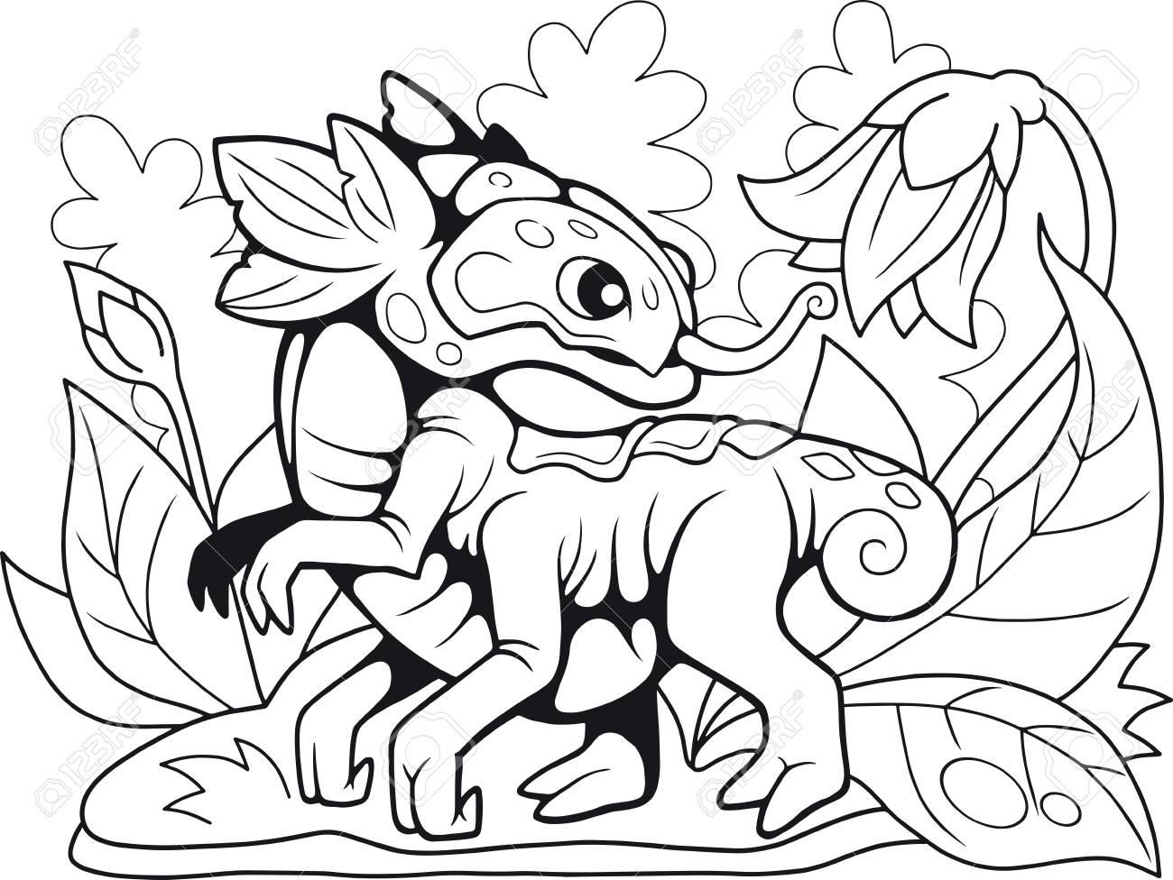 - Cartoon Cute Flower Dragon, Coloring Book, Funny Illustration