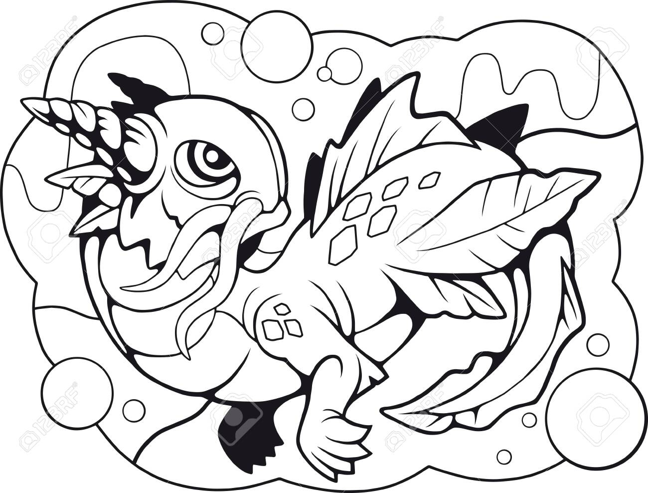 - Cartoon Little Water Dragon, Coloring Book, Funny Illustration