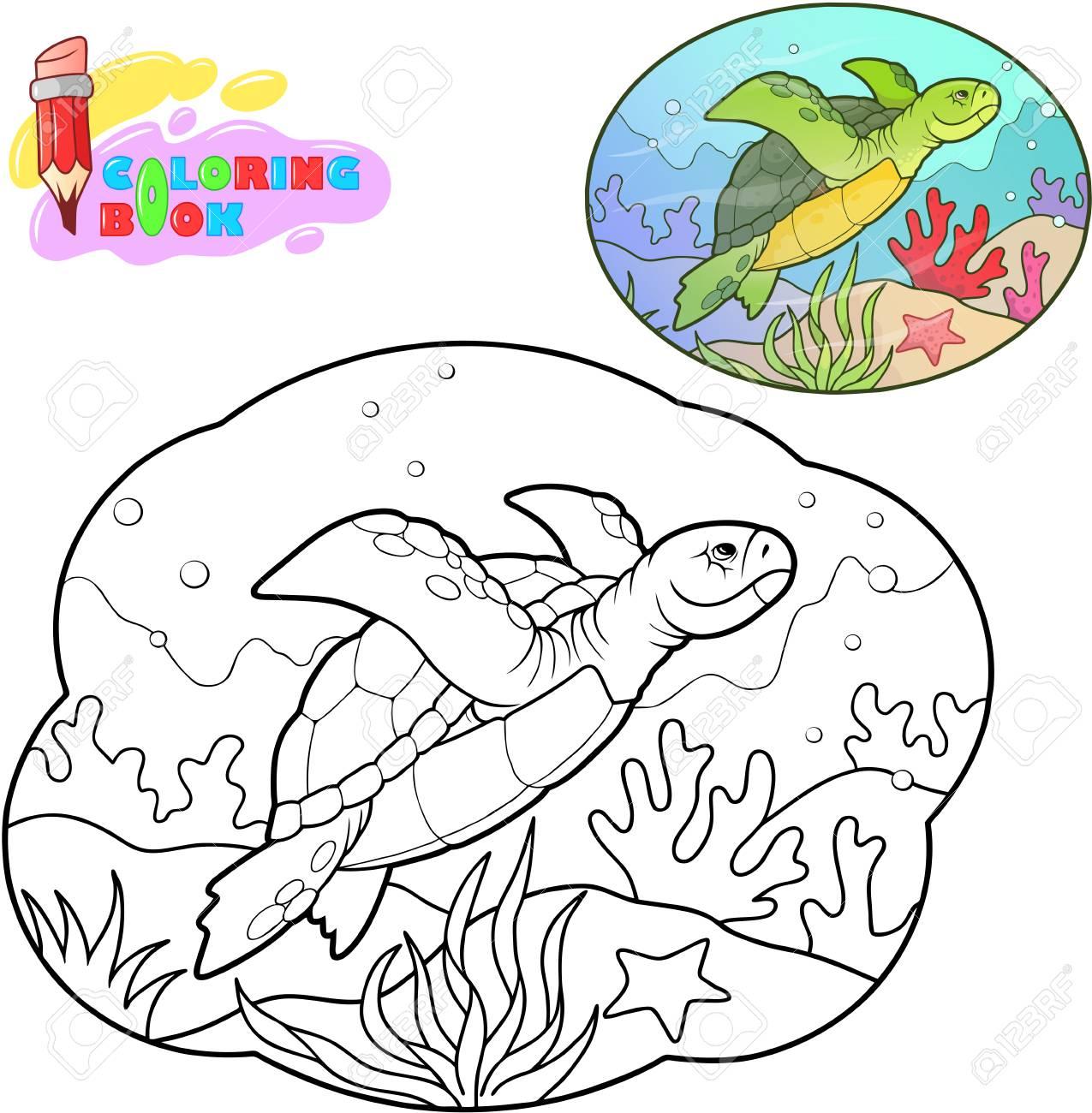Cute Cartoon Sea Turtle Coloring Book Funny Illustration Royalty