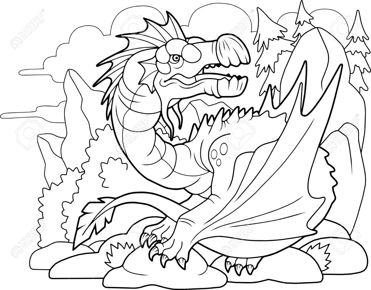 Cartoon Carnivorous Dragon Coloring Book Funny Illustration Royalty Free Cliparts Vectors And Stock Illustration Image 138596940