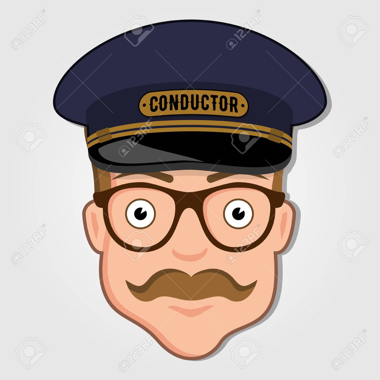 Train Conductor Cartoon Face with Glasses. Vector illustration. - 104271858
