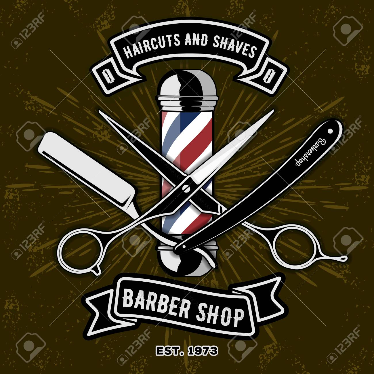 Barber Shop Logo with barber pole in vintage style. Vector template - 107320724