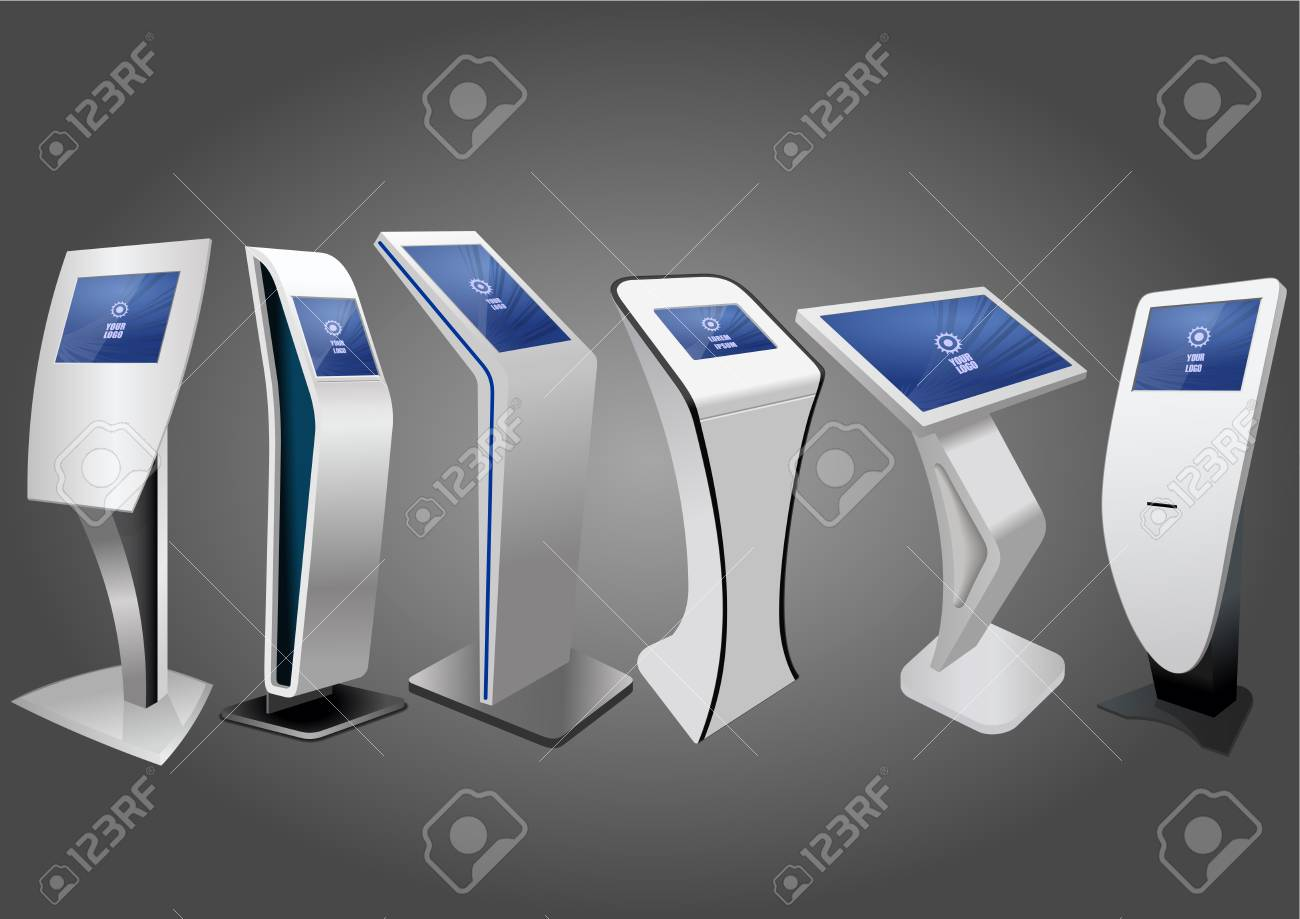 Six Promotional Interactive Information Kiosk, Advertising Display, Terminal Stand, Touch Screen Display. Mock Up Template. - 107642153