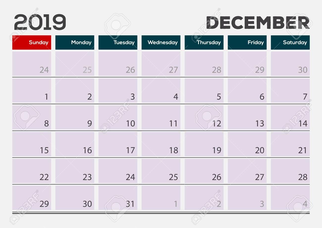 December 2019 Calendar With Clipart December 2019. Calendar Planner Design Template. Week Starts