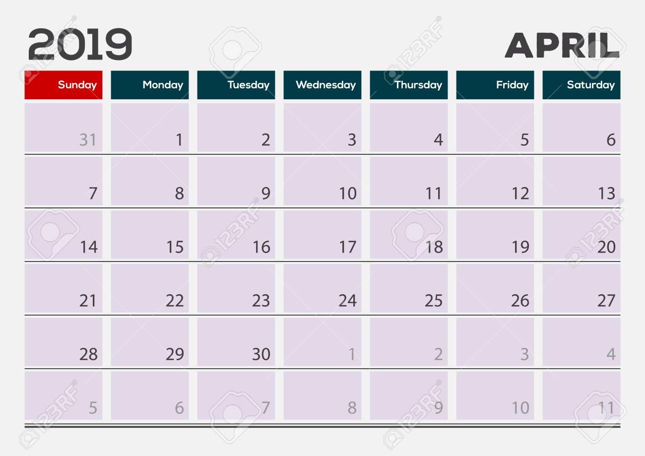 April 2019 Calendar Planner Design Template Week Starts On