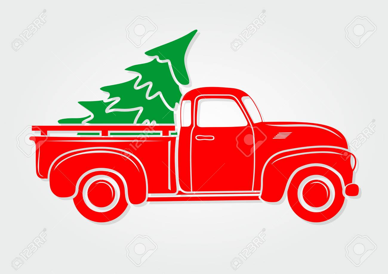 Christmas Greeting Card Vintage Pickup Truck With Christmas Royalty Free Cliparts Vectors And Stock Illustration Image 109904713