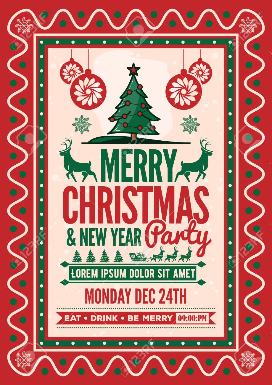 christmas party invitation flyer or poster design vector