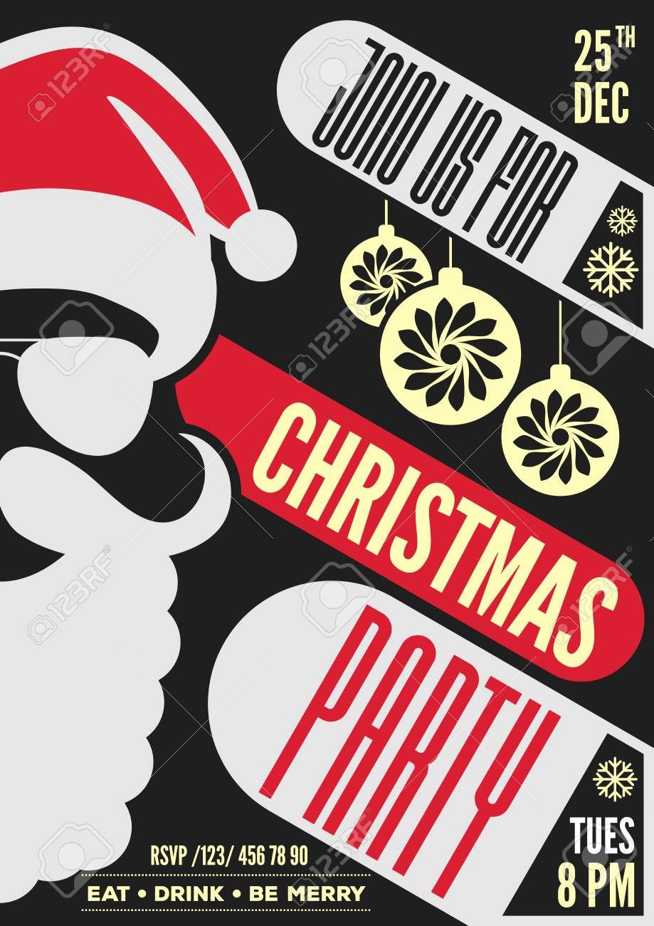 christmas party invitation flyer or poster design with santa