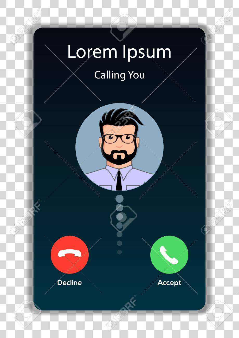 Screen of smartphone with incoming call. Vector illustration. - 112829778