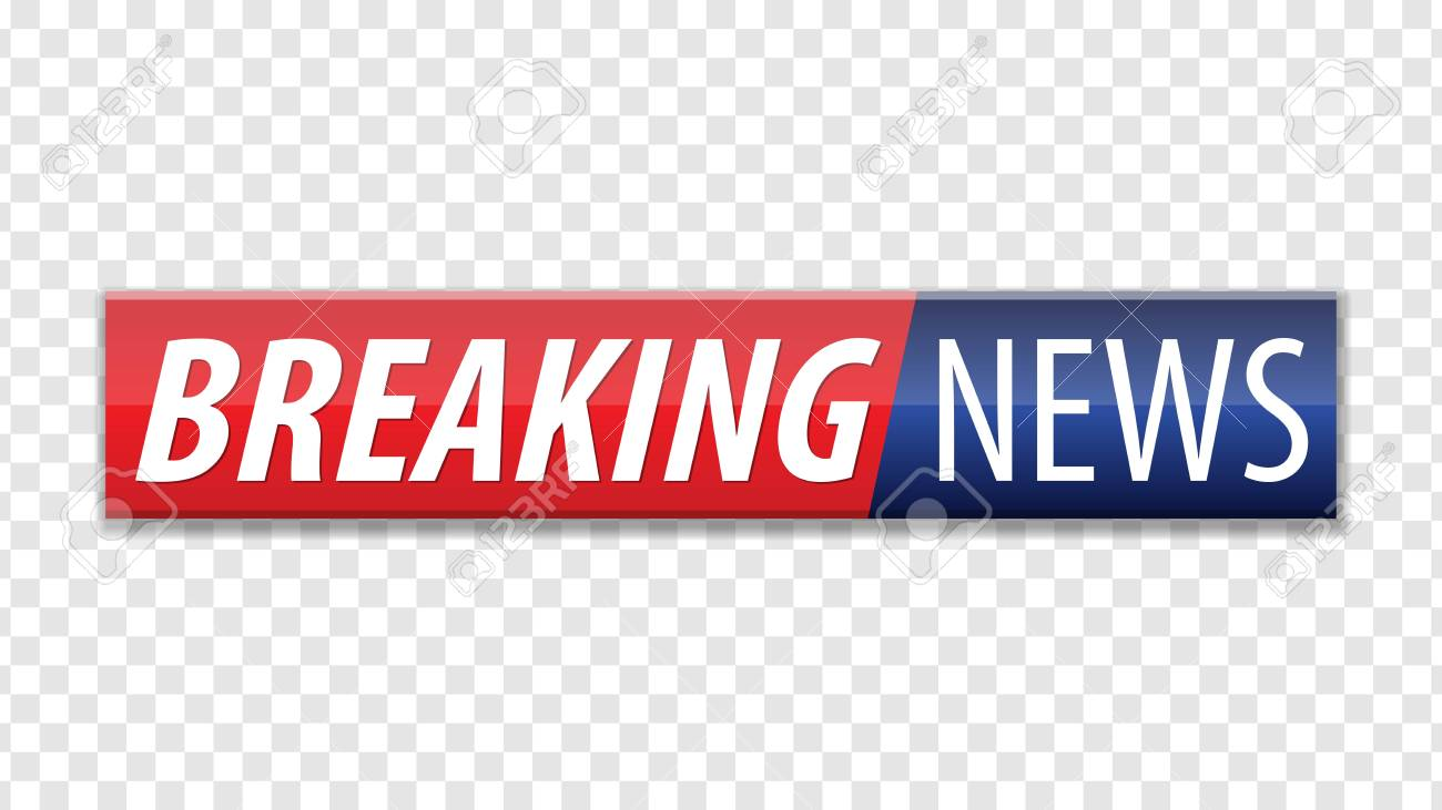 Breaking news. Red blue banner with white text isolated on transparent background. Vector illustration. - 114765532
