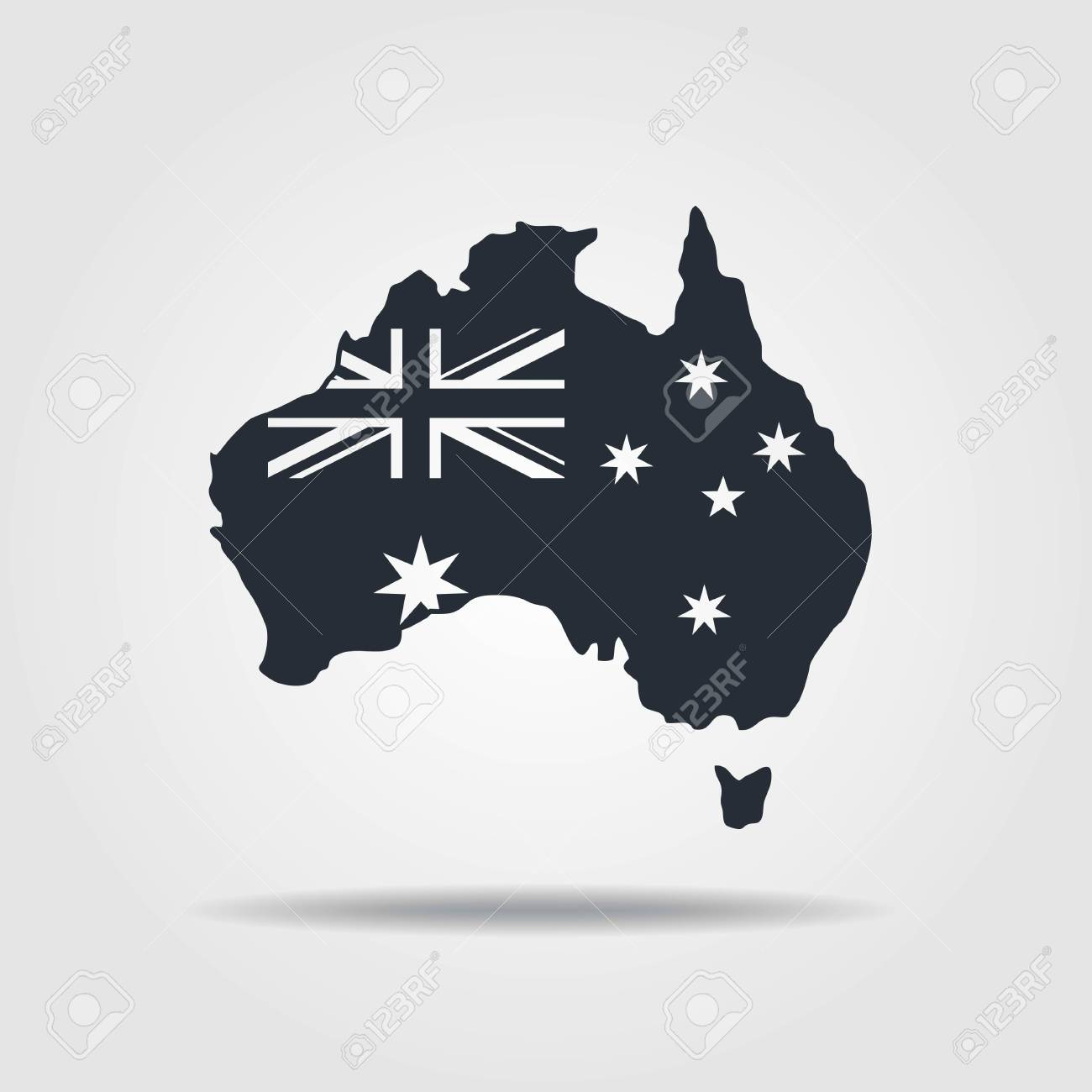 Australia Map Icon.Australia Map Icon With The Flag Vector Illustration