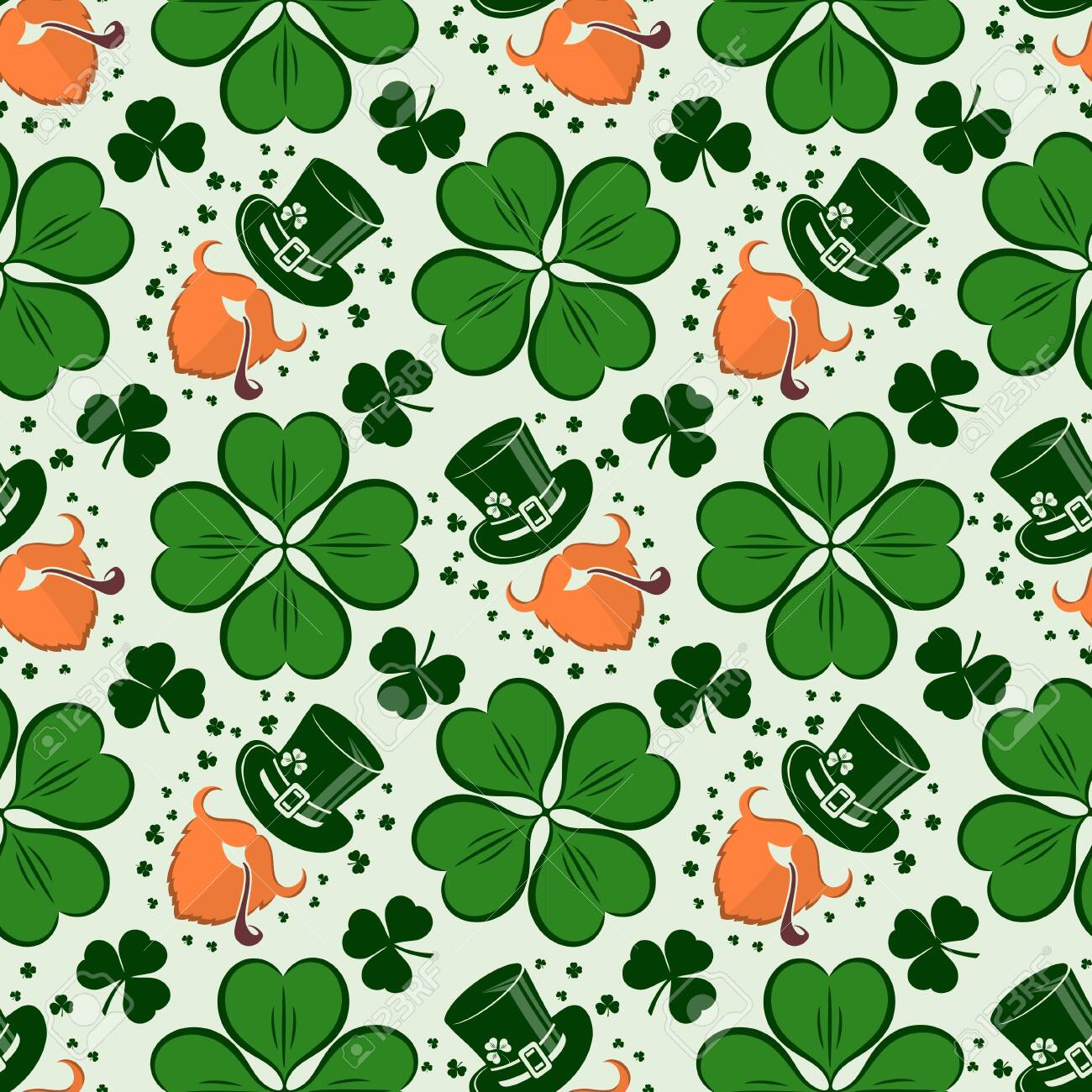 St. Patrick's Day seamless pattern with leprechaun, hat and clover. Vector illustration. - 116336911