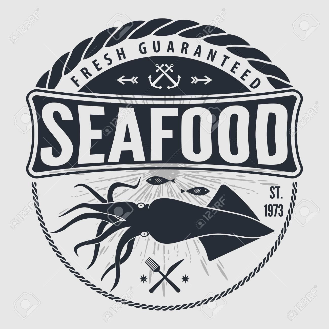 Seafood label, badge, emblem or logo for seafood restaurant, menu design element. Vector illustration - 123086070