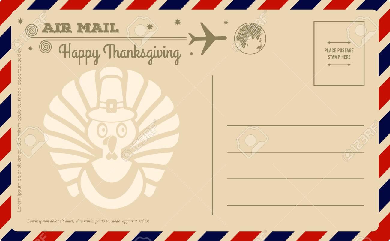 Vintage Thanksgiving Day Postcard. Vector illustration. - 129267071