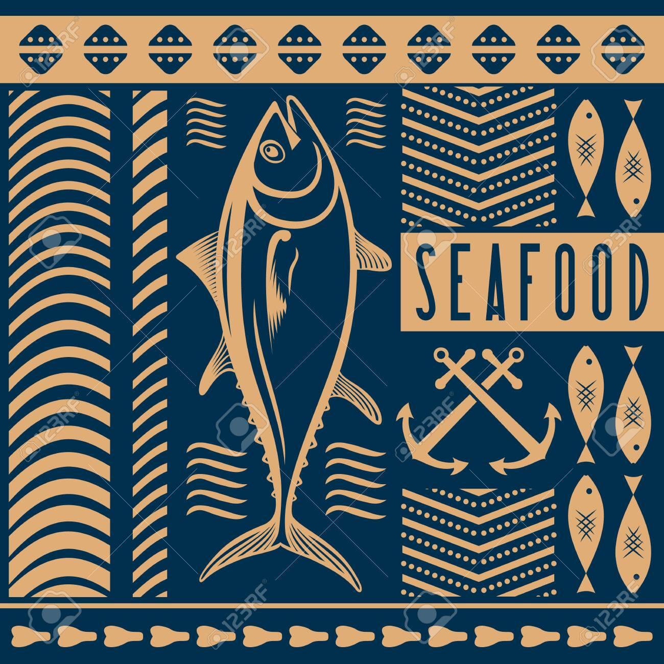 Seafood Restaurant Poster Banner Template With Tuna Fish Vector Illustration Ilustraciones Vectoriales Clip Art Vectorizado Libre De Derechos Image 150529055