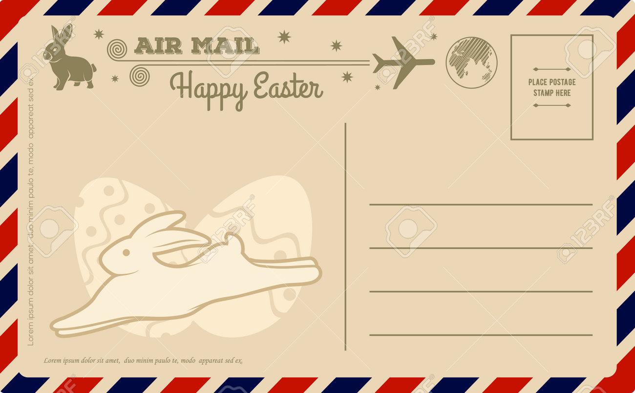 Happy Easter vintage postcard design template. Vector illustration - 166488729