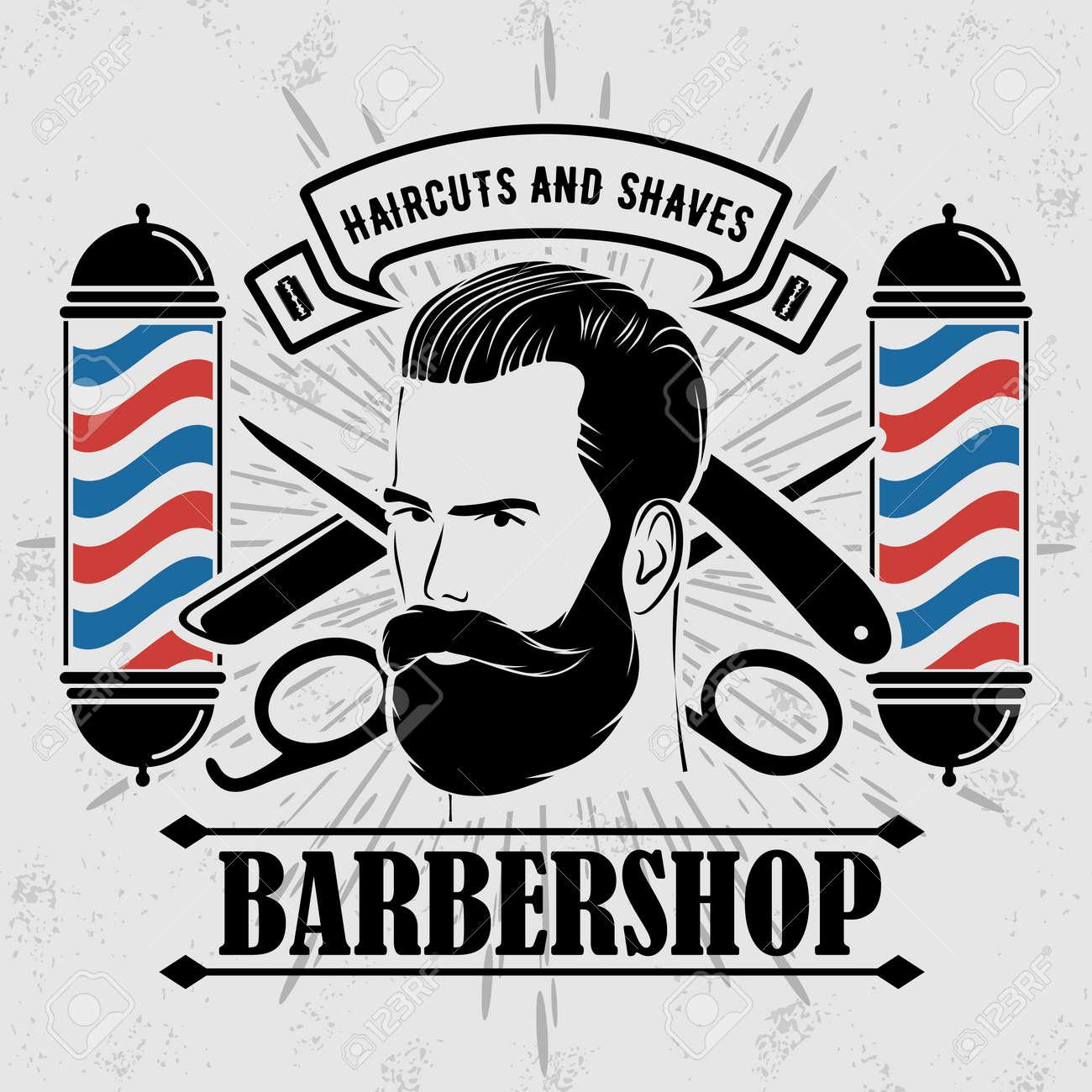 Barbershop design concept with barber pole - 169447745