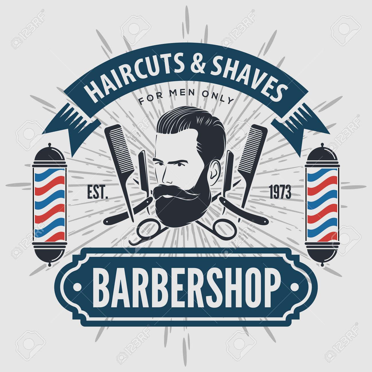 Barbershop design concept with barber pole - 169447756