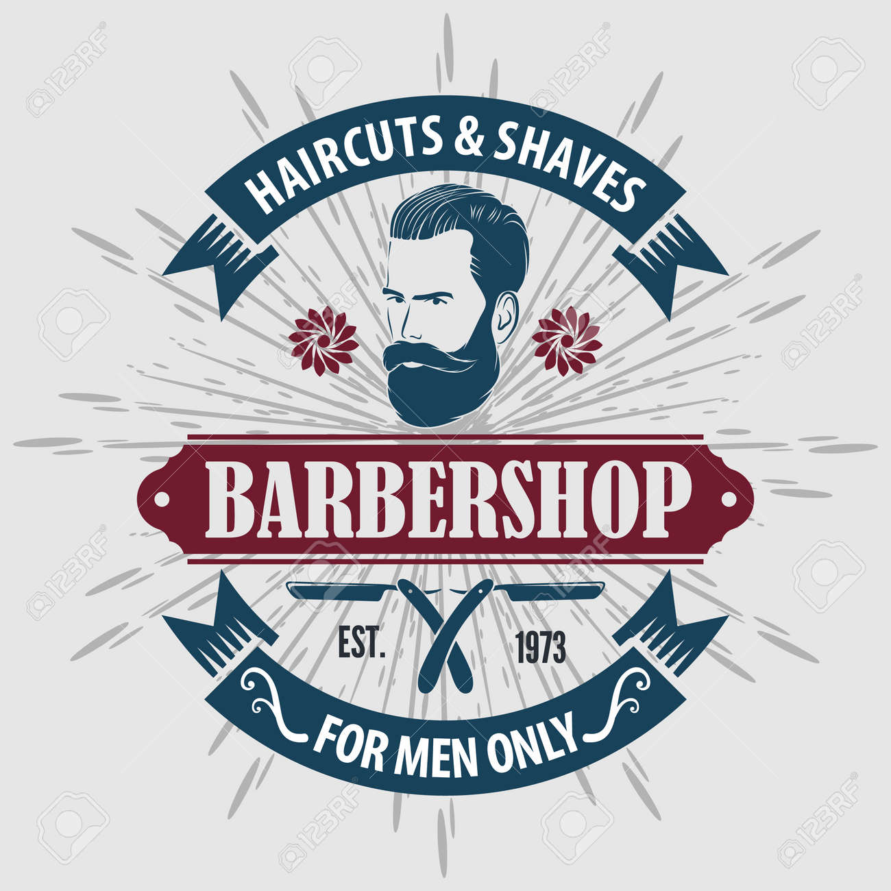 Barber shop poster template with Bearded men - 169447752